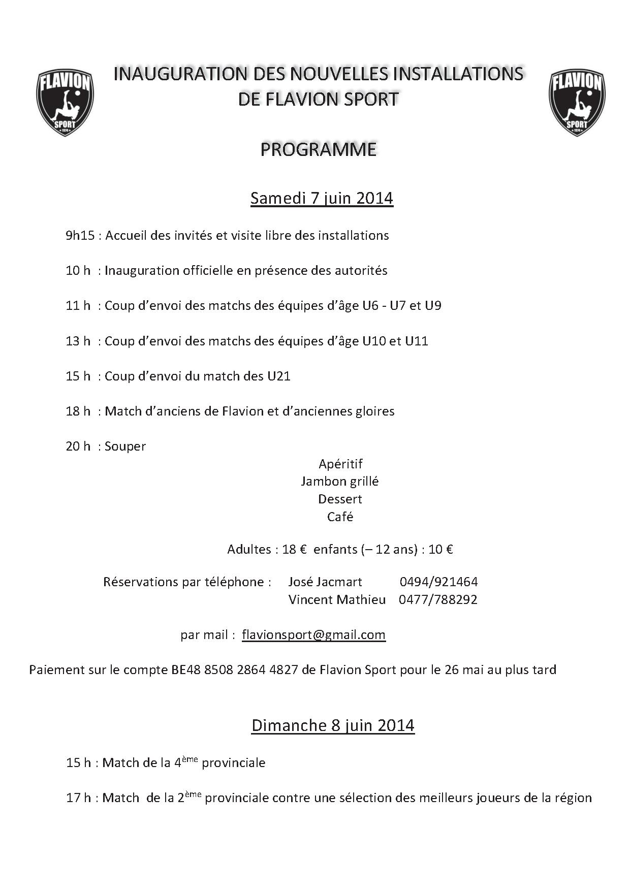 programme inauguration