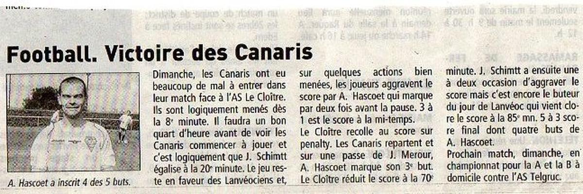 ARTICLE DE PRESSE SAISON EN 2009/2010 - Ecole de football de lanvéoc Sports