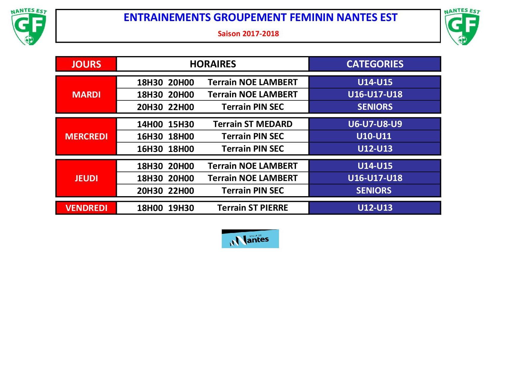 Planning Entraînements GF Nantes Est
