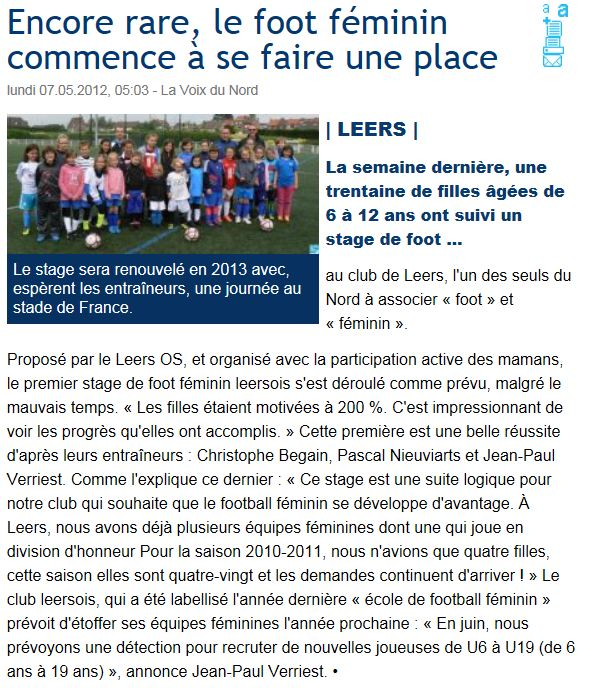 Voix du Nord 7 mai 2012