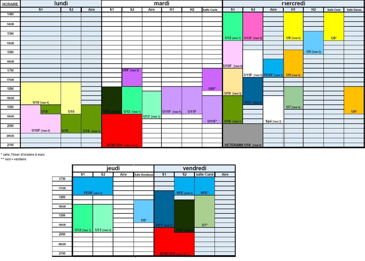 planning des entrainements 2016/2017