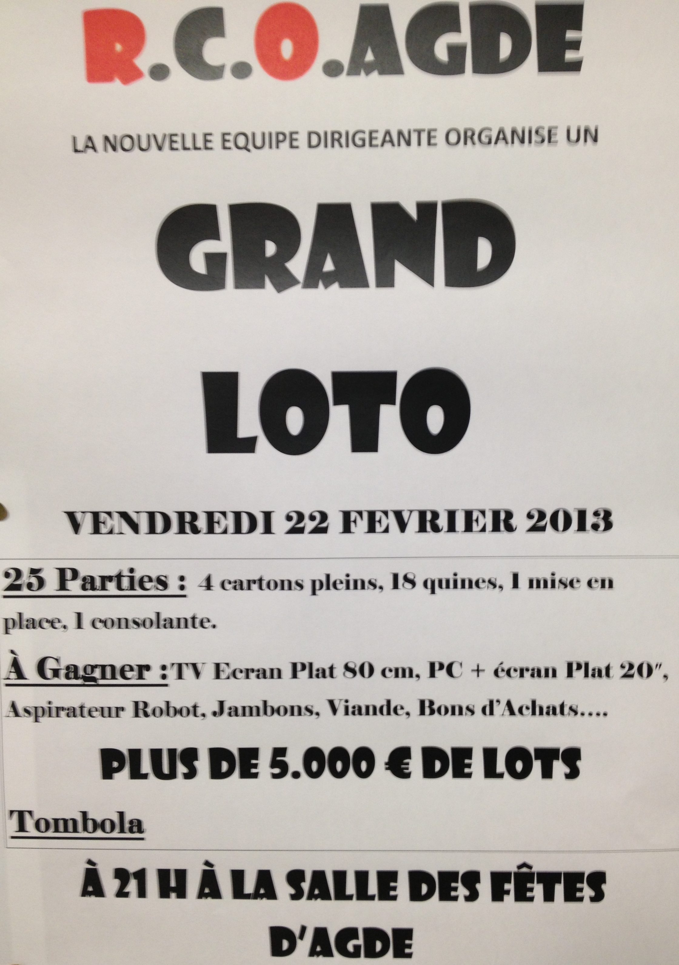 GRAND LOTO DU RACING CLUB OLYMPIQUE AGATHOIS