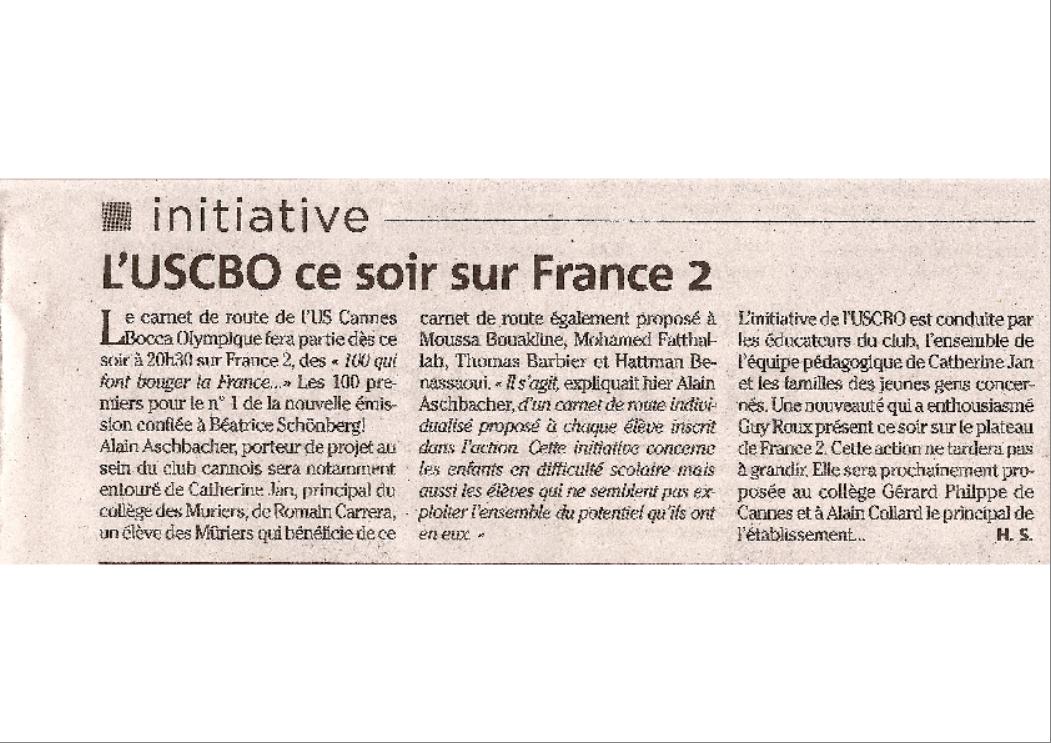 NICE MATIN 09-10-2007 L'USCBO SUR FRANCE 2