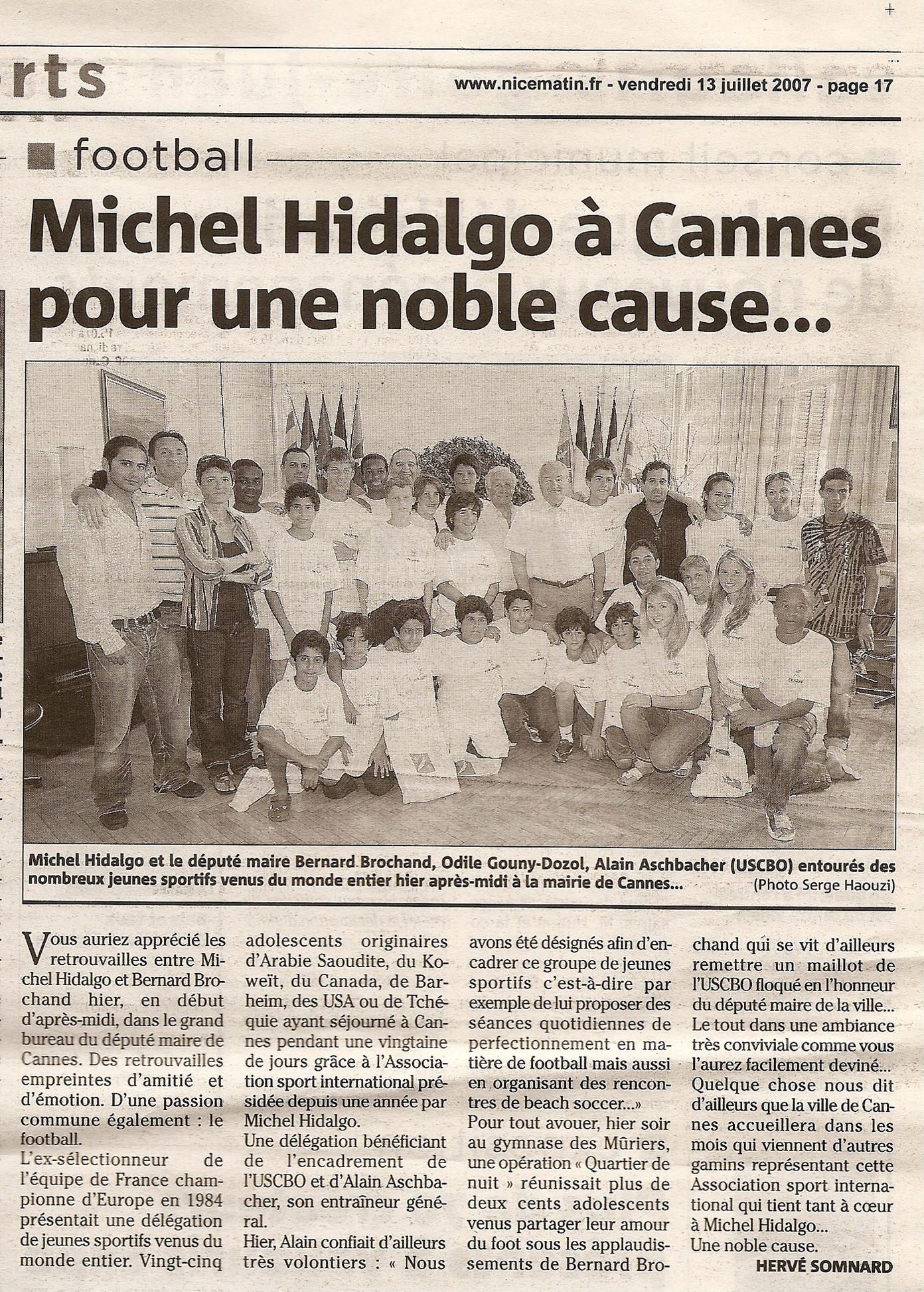 NICE MATIN 13-07-2007 L'USCBO et Michel HIDALGO