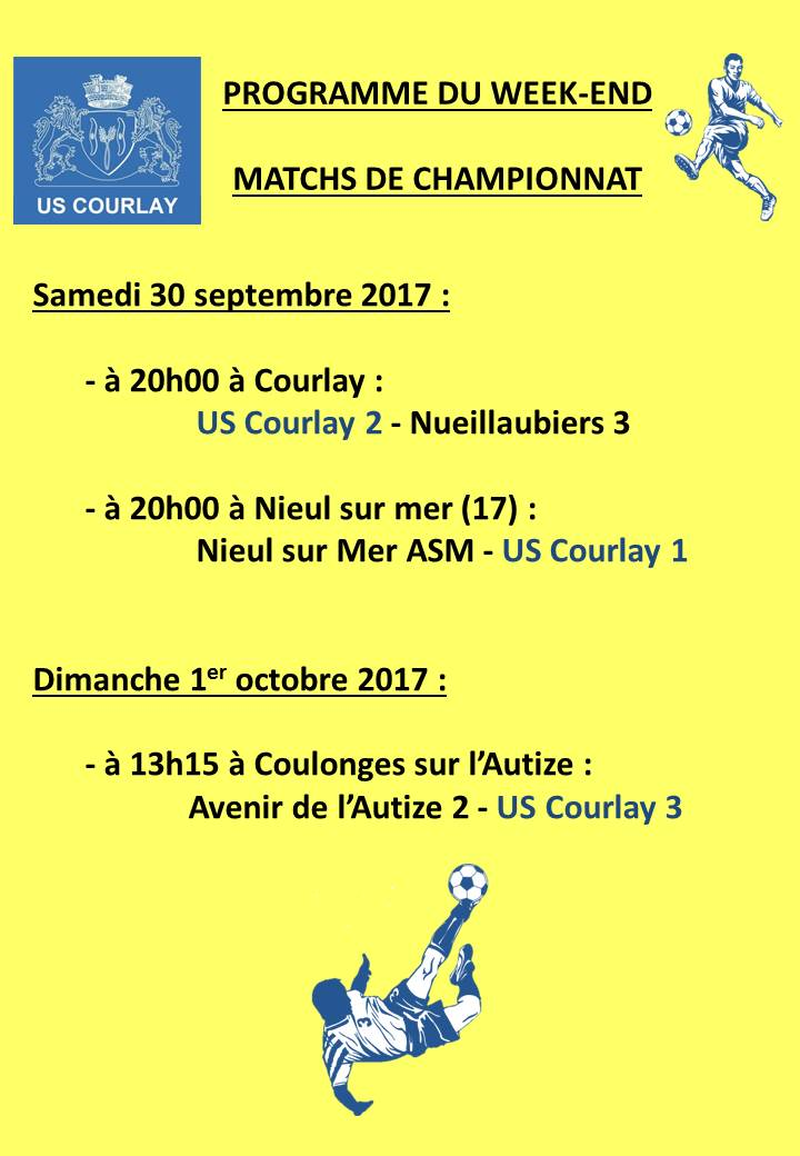 2017_09_28 Matchs_au_programme_du_week_end