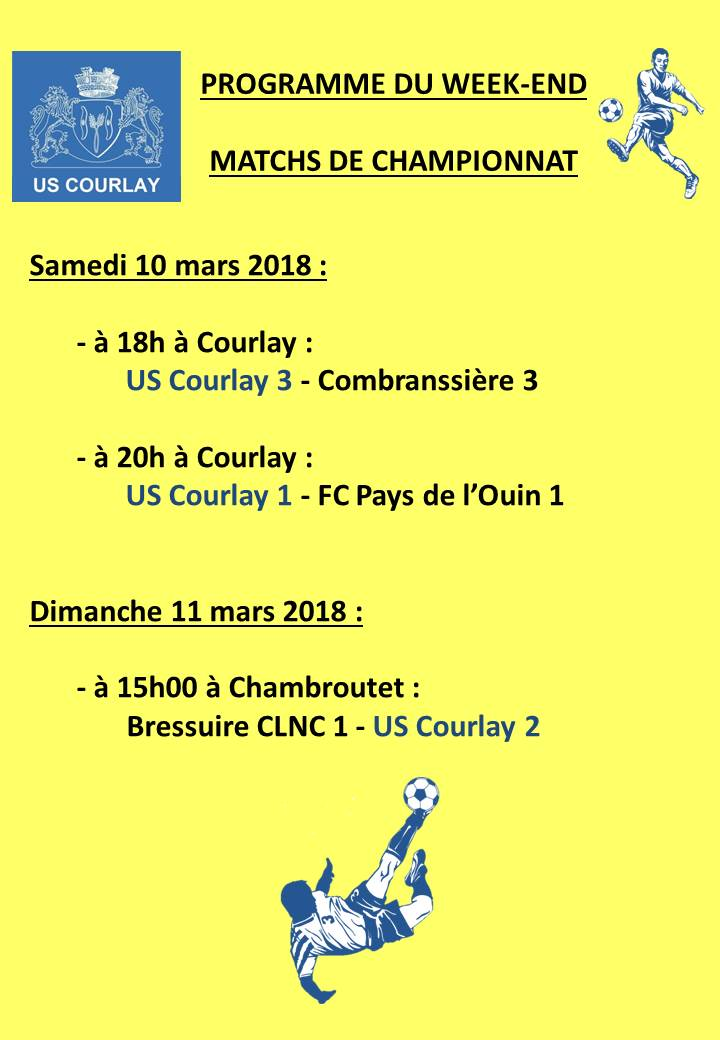 2018_03_08 Matchs_au_programme_du_week_end