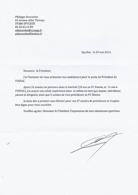 lettre de demission football couurier de candidature de Philippe Descordes   club Football  lettre de demission football