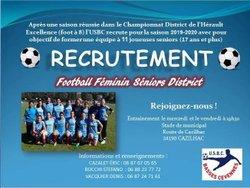 recrutement féminines séniors pour la saison 2019/2020, lisez la suite