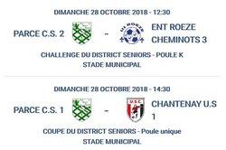 Challenge pour la B, Coupe du district pour la A ce 28 octobre à Parcé !