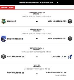 Les rencontres du weekend - Entente Sportive Viry Noureuil