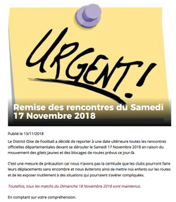 REMISE DES MATCHS POUR LE SAMEDI 17 NOVEMBRE 2018