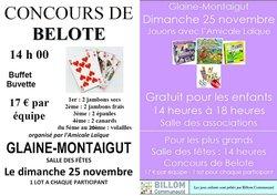 Dimanche 25 novembre : Concours de belote 14 heures