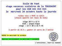 Stage Toussaint U11 U13