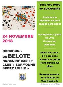 Concours de belote le 24 novembre à 21 h salle des fêtes de Sormonne