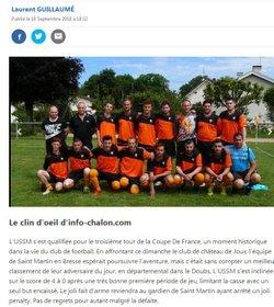 La une des journaux   JSL / INFOS CHALON      SEPTEMBRE 2018    3éme tour COUPE DE FRANCE - Union Sportive San Martinoise ( USSM )