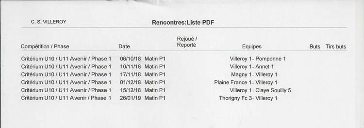 Calendriers des matchs CDM - Vétérans - Séniors et Critérium U10-U11/U12-U13 - saison 2018-2019 - csvilleroy