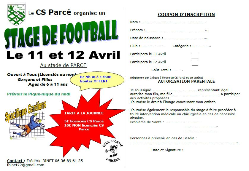 Bulletin d'inscription STAGE