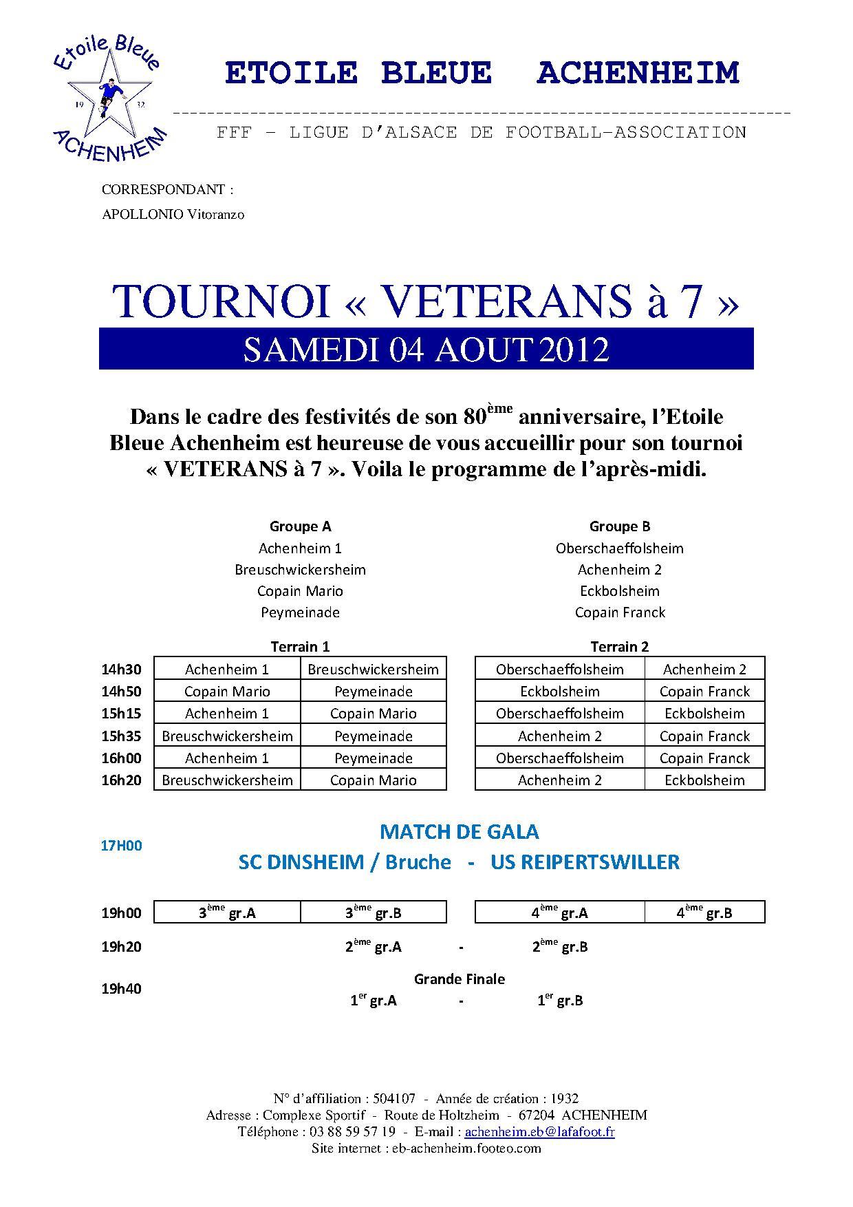 EBA   Programme tournoi 80
