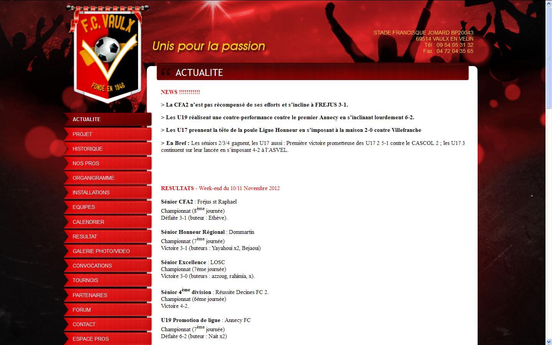 Nouveau site du FC Vaulx.com