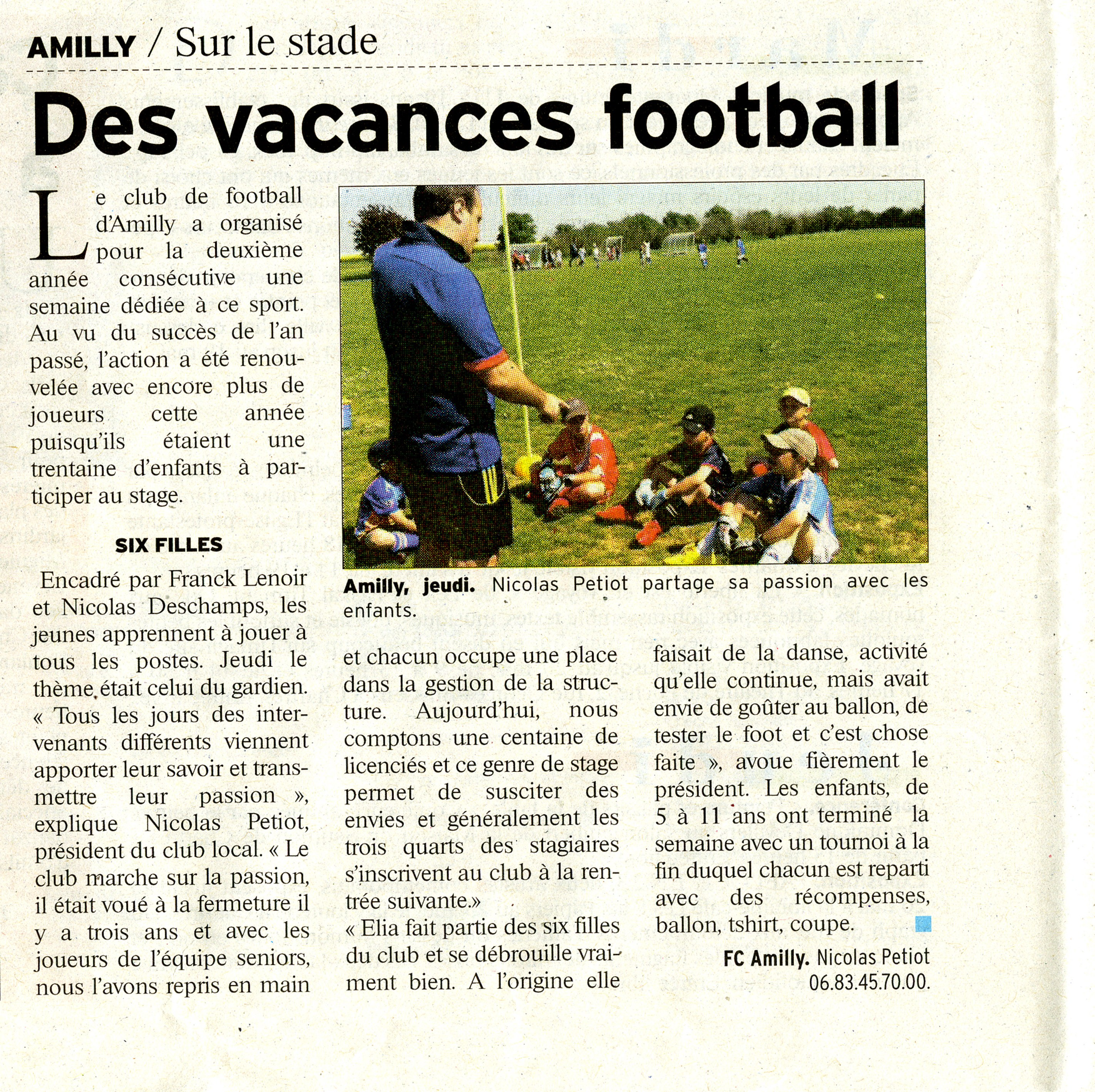 article stage de foot