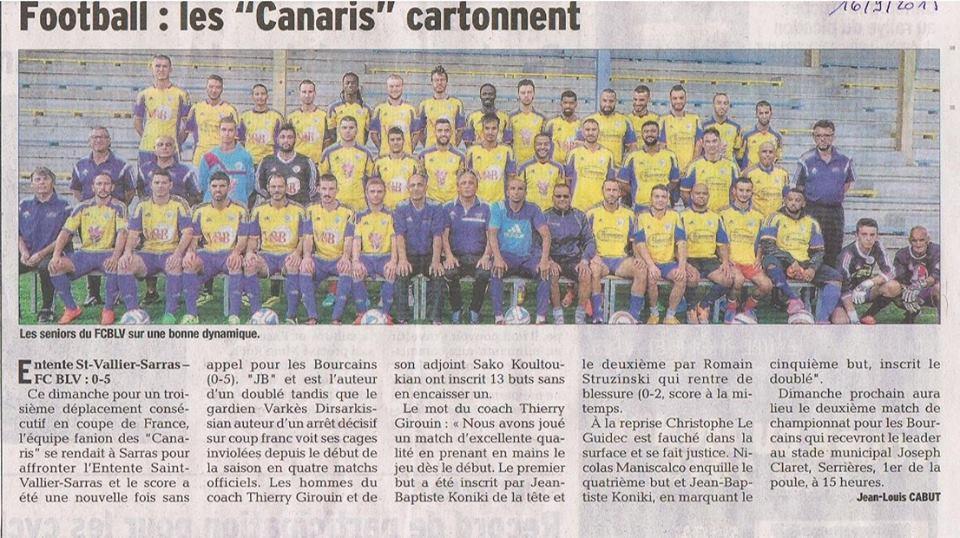 """Football : les """"Canaris"""" cartonnent, Le Dauphine Libéré, 16/09/2015"""