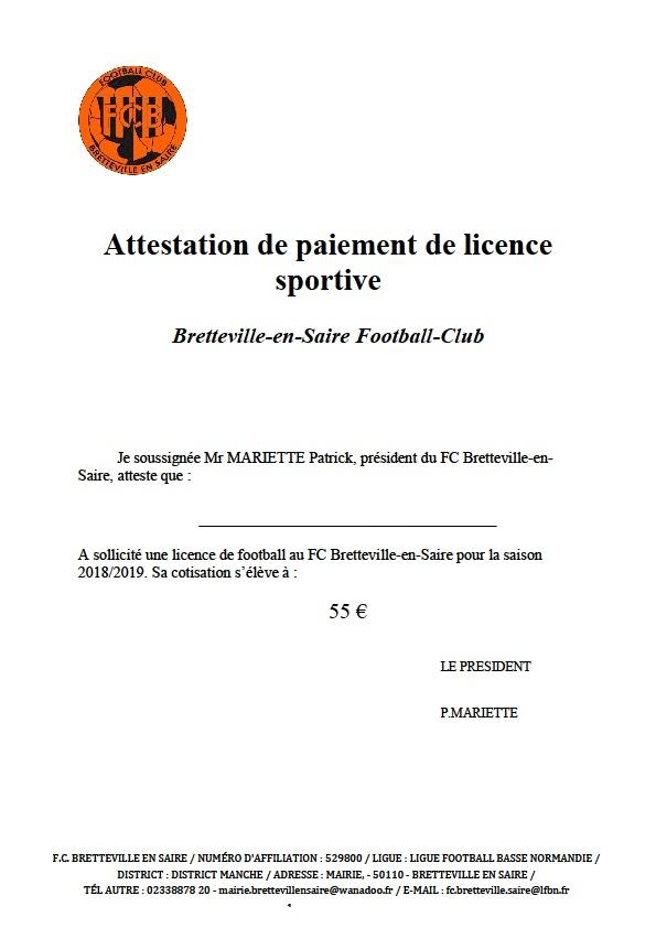 Attestation De Paiement De Licence 2018 19 Club Football Bretteville En Saire Fc Footeo