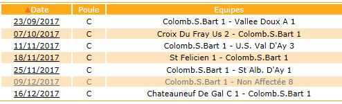 Calendrier U13 saison 2017-2018 phase 1