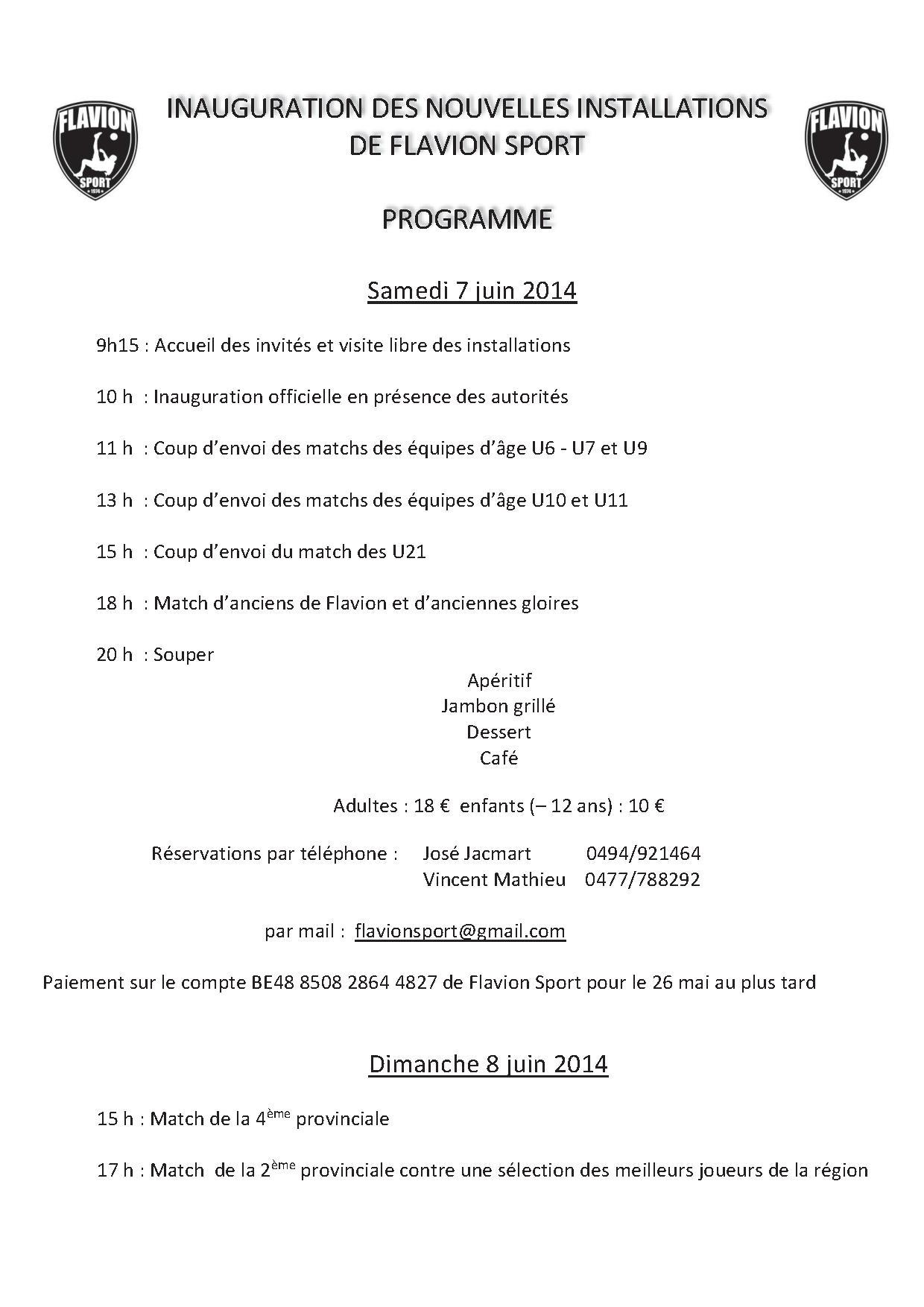 programme inauguration