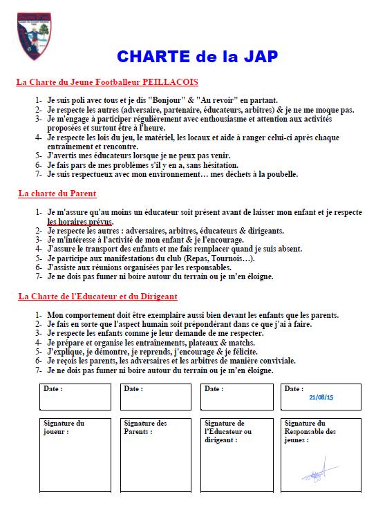 Charte de l'Ecole de Foot