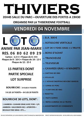 Loto La Thibérienne Football Vendredi 4 Novembre 2016