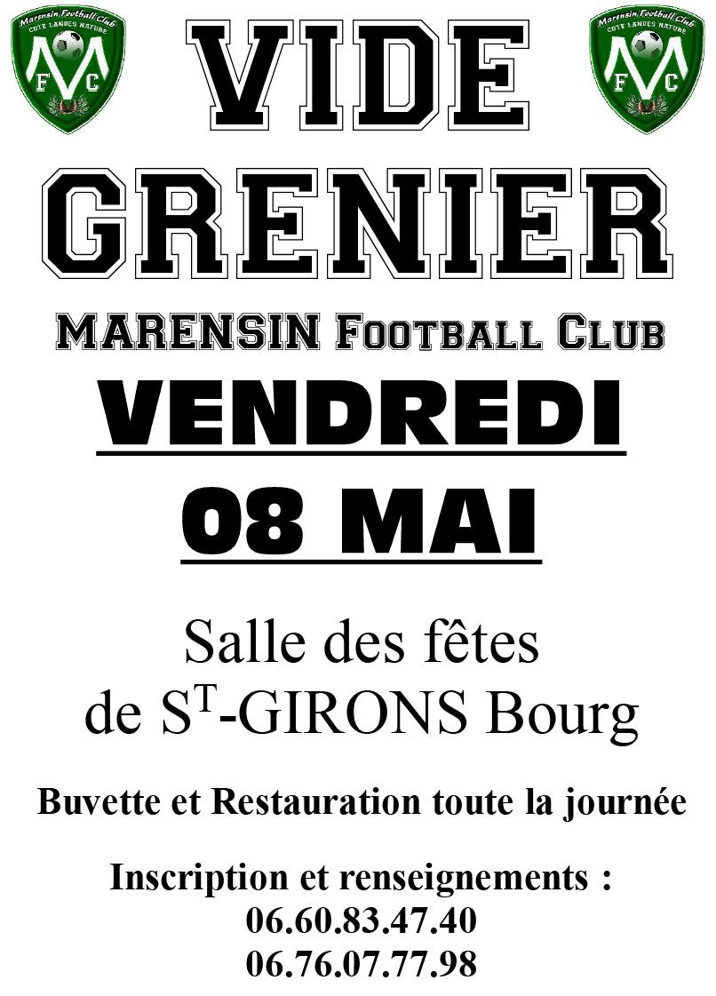 vide grenier vielle saint girons marensin football club