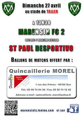affiche ballon de match Marensin FC quincaillerie MOREL