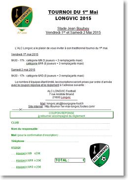 Bulletin Inscription Tournoi 1er Mai 2015 Longvic