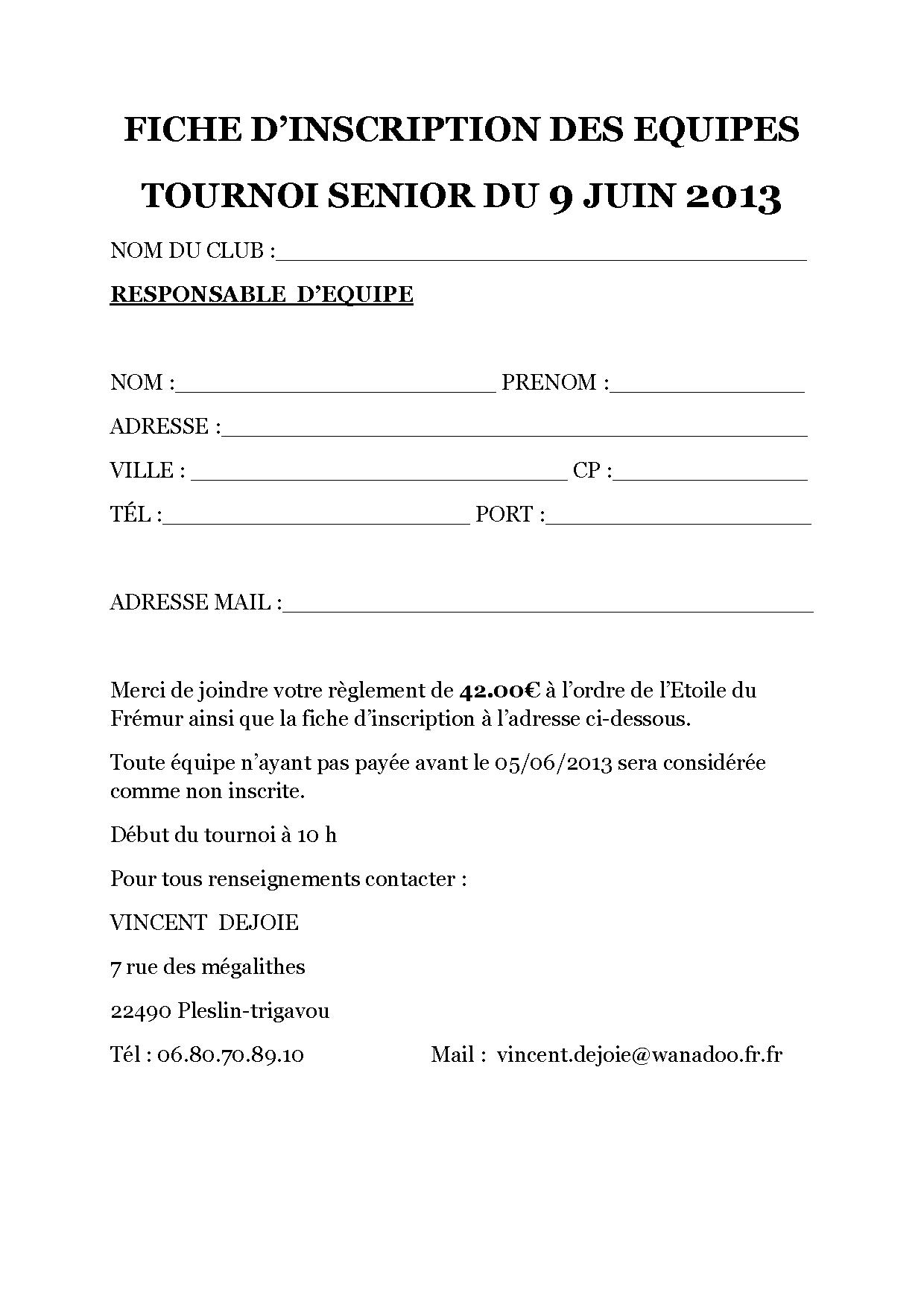 FICHE D'INSCRIPTION TOURNOIS SENIOR