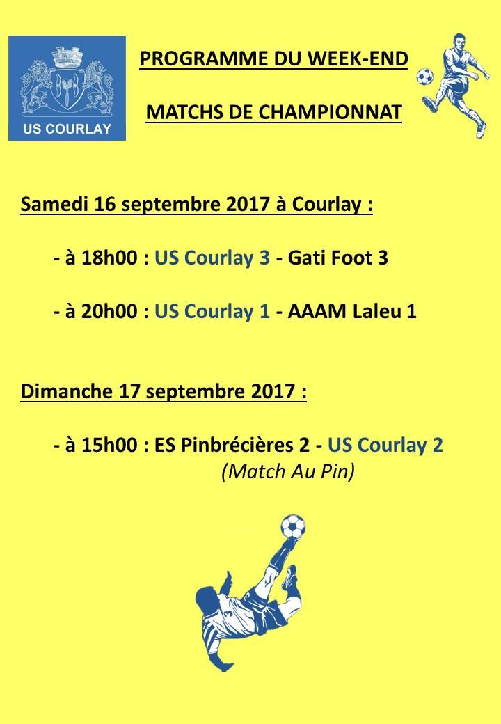 2017_09_14 Matchs_au_programme_du_week_end