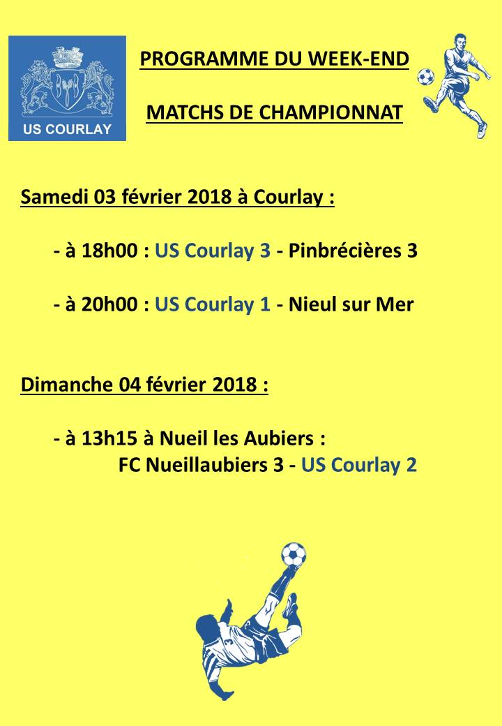 2018_02_01 Matchs_au_programme_du_week_end