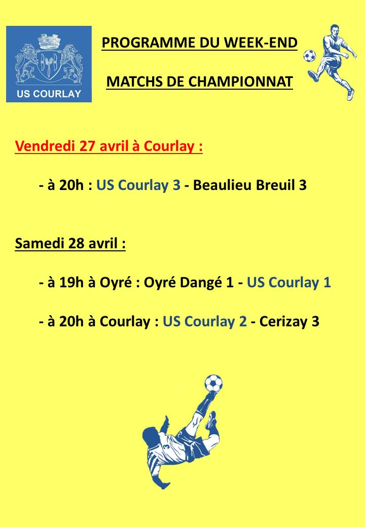 2018_04_26 Matchs_au_programme_du_week_end