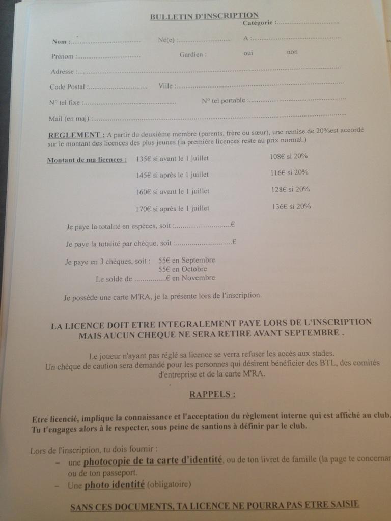 Bulletin inscritpion